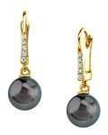 Tahitian South Sea Pearl & Diamond Susan Earrings - Model Image