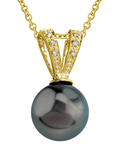 Tahitian South Sea Pearl & Diamond V-Shape Pendant - Secondary Image