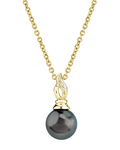 Tahitian South Sea Pearl & Diamond Wave Pendant - Model Image
