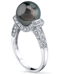 Tahitian South Sea Pearl Sparkling Jewel Ring - Model Image