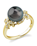 Tahitian South Sea Pearl Crown Jewel Ring - Model Image