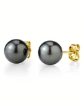 8mm Tahitian South Sea Pearl Stud Earrings- Various Colors - Secondary Image