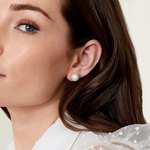10mm White Freshwater Pearl Stud Earrings - Model Image