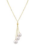 14K Gold Japanese Akoya Pearl Tincup Cluster Pendant - Secondary Image