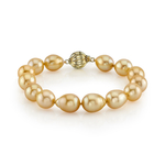 10-11mm Baroque Shaped Golden South Sea Pearl Bracelet - AAA Quality