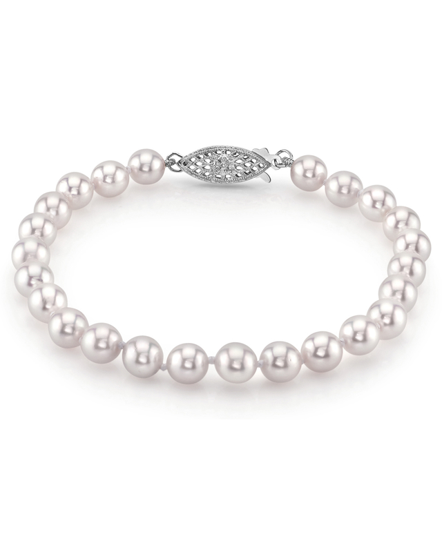 6.0-6.5mm Akoya White Pearl Bracelet- Choose Your Quality