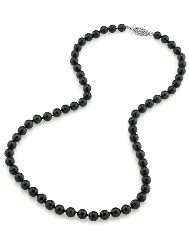 6.0-6.5mm Japanese Akoya Black Pearl Necklace- AAA Quality