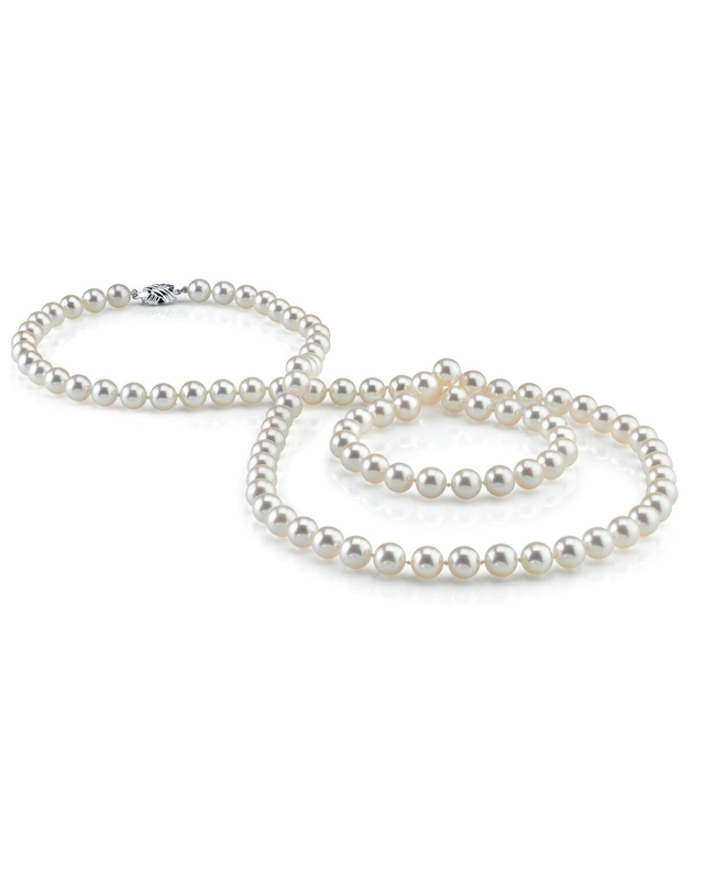 8.0-8.5mm Opera Length Japanese Akoya Pearl Necklace