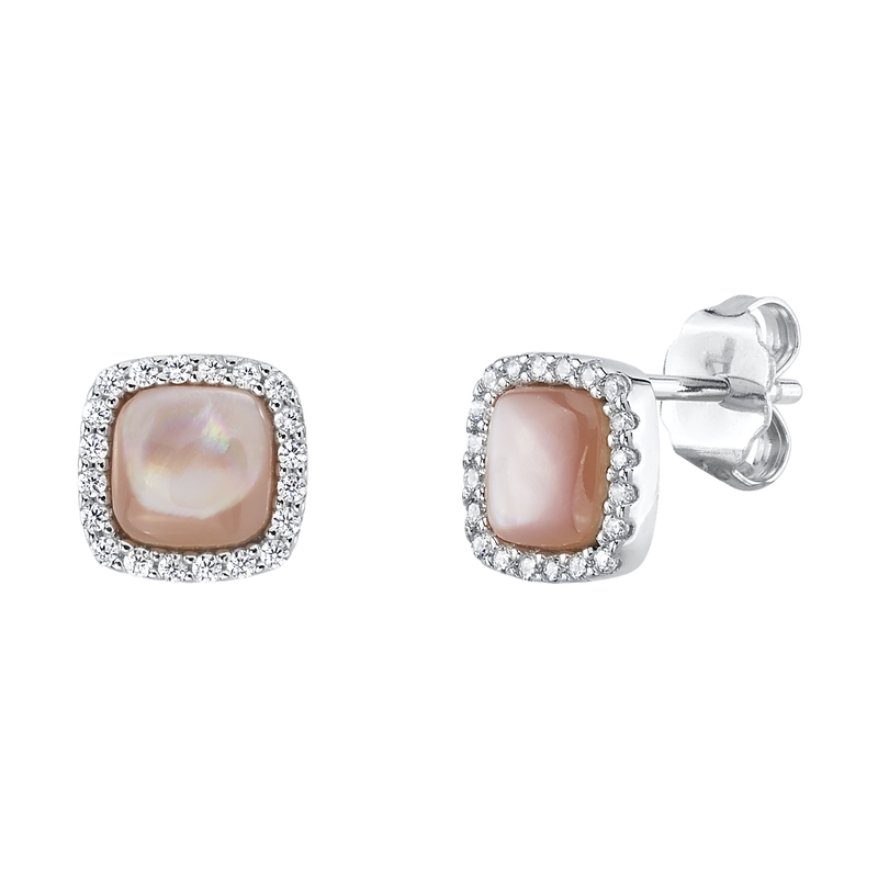 Pink Mother of Pearl & Cubic Zirconia Eloise Earrings