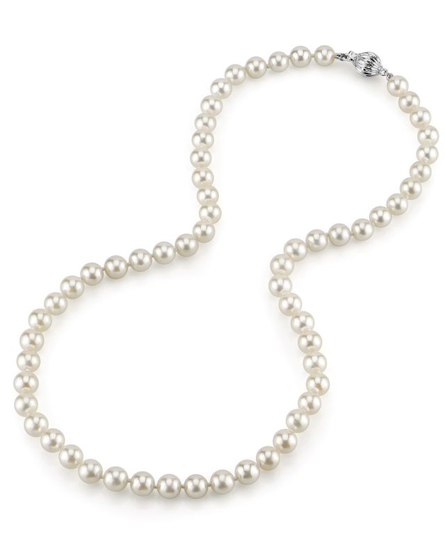 6.5-7.0mm Japanese Akoya White Choker Length Pearl Necklace- AAA Quality