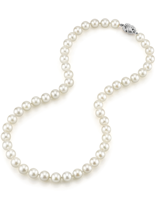 8.0-8.5mm Japanese Akoya White Pearl Necklace- AA+ Quality