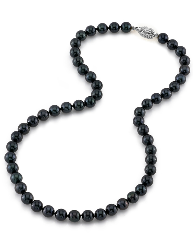 7.5-8.0mm Japanese Akoya Black Pearl Necklace- AA+ Quality