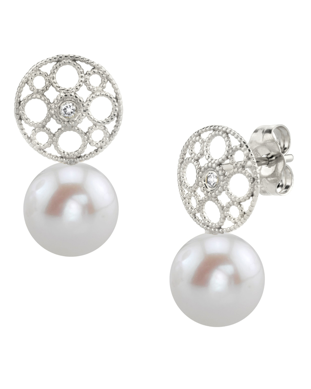 Freshwater Pearl & Diamond Faye Earrings