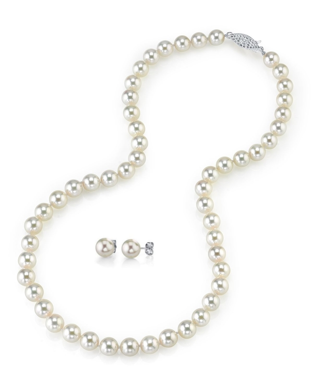 8.0-8.5mm Japanese White Akoya Pearl Necklace & Earrings