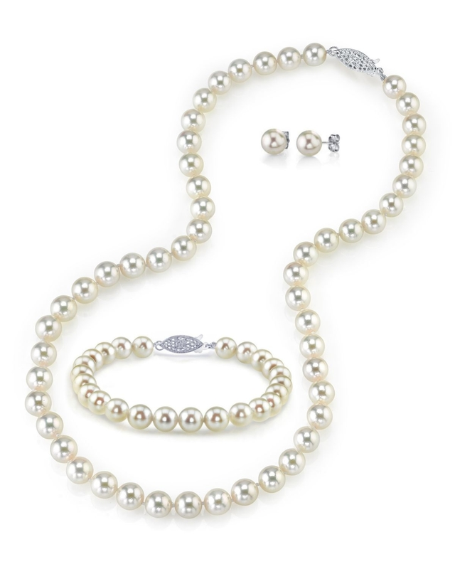 8.5-9.0mm Japanese Akoya White Pearl Set
