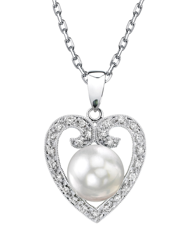 South Sea Pearl & Diamond 9mm Heart Shaped Pendant