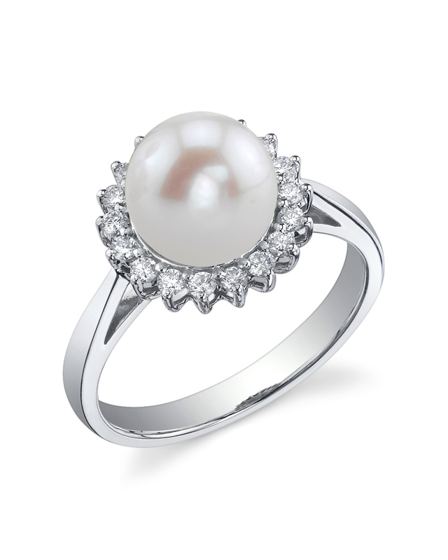 Freshwater Pearl & Diamond Solar Ring