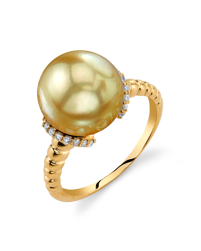 Golden South Sea Pearl & Diamond Jackie Ring