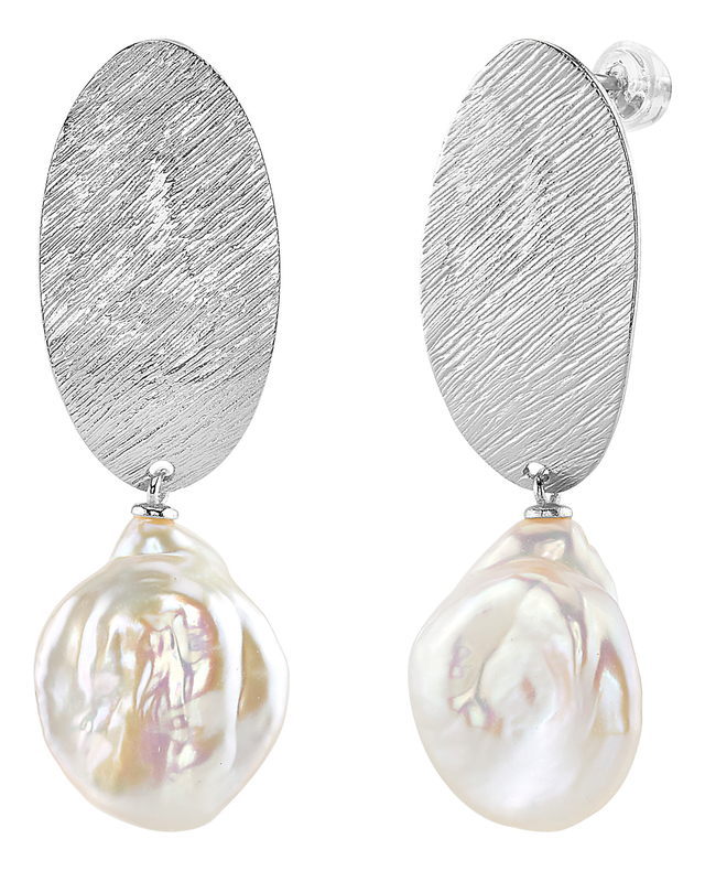 White Freshwater Baroque Pearl Sterling Silver Julie Earrings