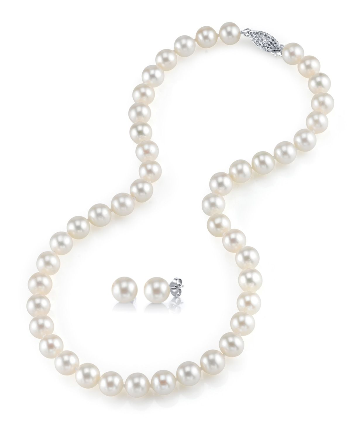 THE PEARL SOURCE 14K Gold 9-10mm AAA Quality Peach Freshwater Cultured Pearl Necklace for Women in 18 Princess Length