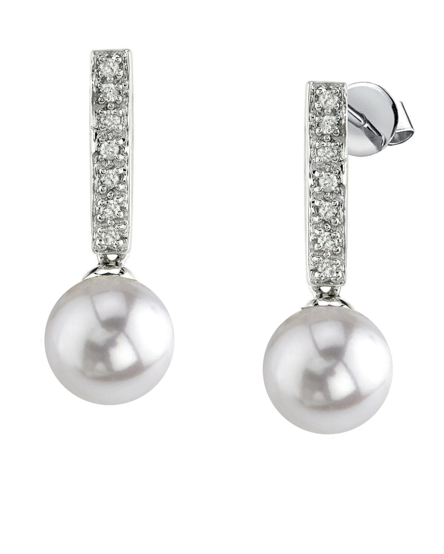 Akoya Pearl Dangling Diamond Earrings Choose Your Color