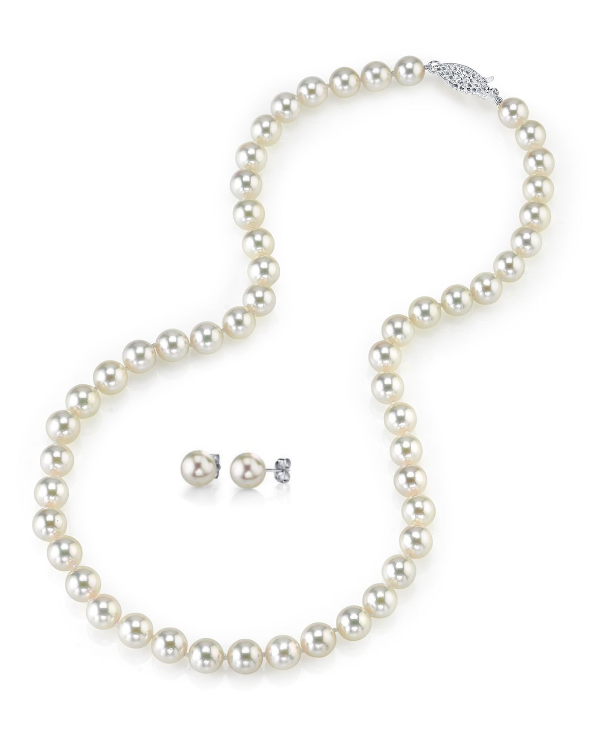 8.5-9.0mm Japanese White Akoya Pearl Necklace & Earrings