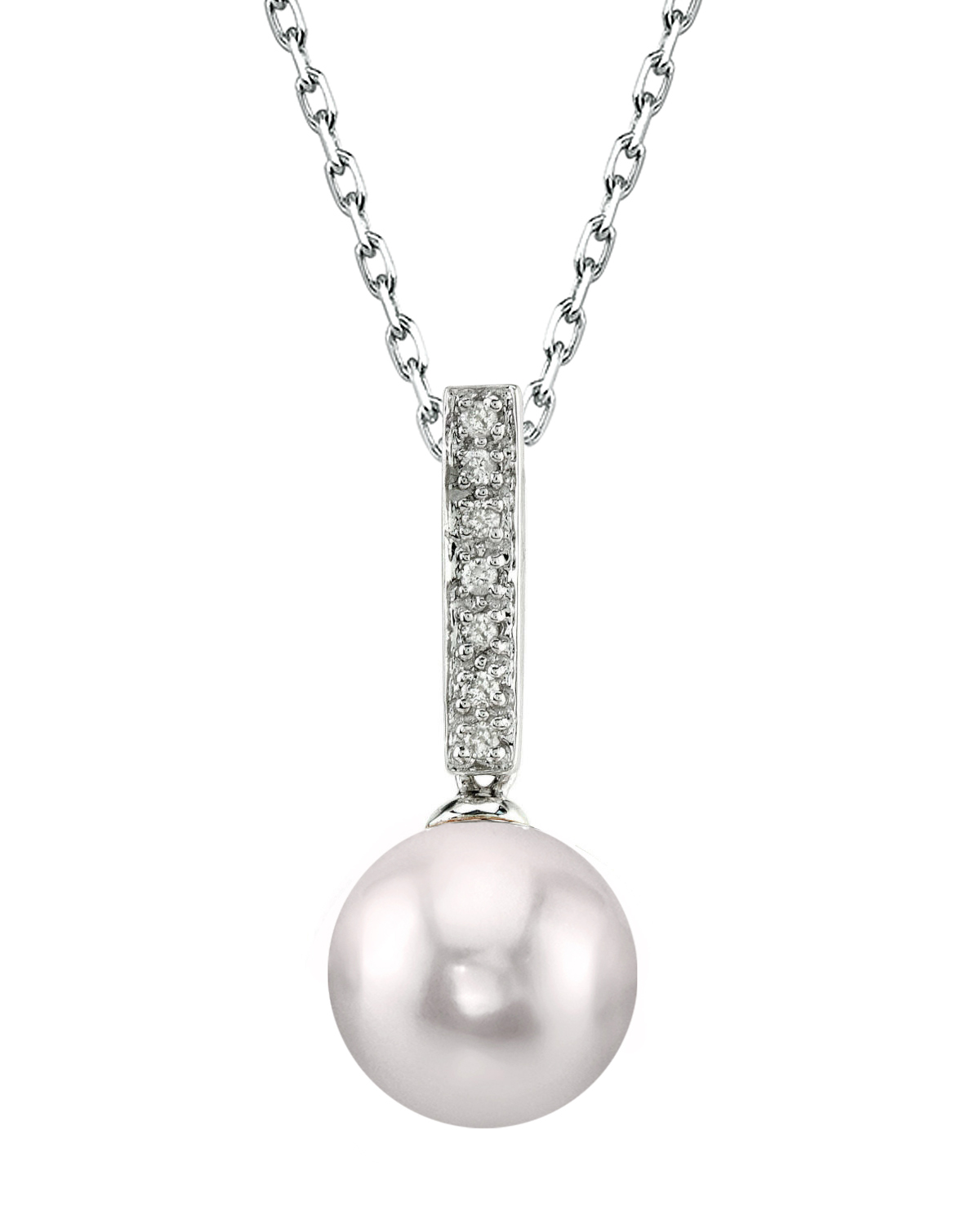 Akoya Pearl Dangling Diamond Pendant- Choose Your Pearl Color