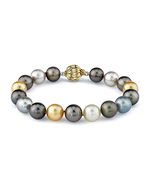 9-10mm Tahitian & Golden South Sea Pearl Bracelet - AAAA Quality - Model Image