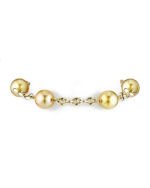 14K Gold Tincup Bracelet with 10-11mm Dark Golden Pearls