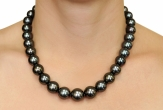 12-15mm Tahitian South Sea Pearl Necklace - AAAA Quality - Model Image