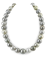 CERTIFIED 13-14.9mm Tahitian Pearl Multicolor Necklace - AAAA Quality