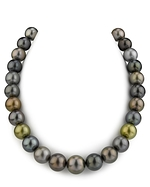 CERTIFIED 13-15mm Tahitian Multicolor Pearl Necklace - AAAA Quality
