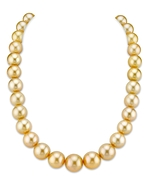 CERTIFIED 13-16mm Golden South Sea Pearl Necklace - AAAA Quality