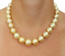 13-15mm Golden South Sea Pearl Necklace - Model Image
