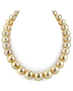 CERTIFIED 14-16mm Golden South Sea Pearl Necklace - AAAA Quality