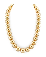 CERTIFIED 14-17mm Golden South Sea Pearl Necklace