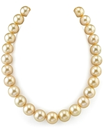 CERTIFIED 15-17mm Golden South Sea Pearl Necklace - AAAA Quality