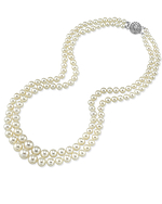 3.5-9.0mm White Freshwater Pearl Double Strand Necklace