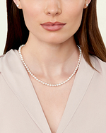 6.0-6.5mm Japanese Akoya White Pearl Necklace- AAA Quality - Model Image