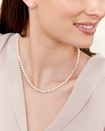 6.0-6.5mm Japanese Akoya Pearl Necklace & Earrings - Model Image