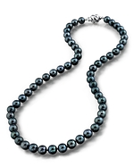 6.5-7.0mm Japanese Akoya Black Pearl Necklace- AA+ Quality