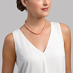 7-8mm Peach Freshwater Pearl Necklace - AAAA Quality - Model Image