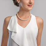 9-10mm White Freshwater Choker Length Pearl Necklace - AAAA Quality - Secondary Image