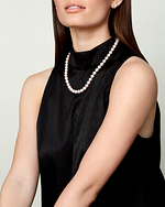 9-10mm White Freshwater Pearl Necklace - Model Image