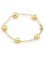 9-10mm Golden South Sea Pearl Tincup Bracelet