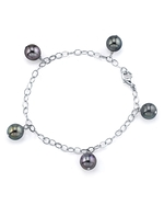 9-10mm Tahitian South Sea Multicolor Pearl Dangling Tincup Bracelet