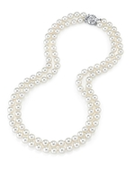 7-8mm White Freshwater Pearl Double Strand Necklace