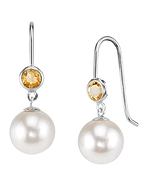 14K Gold Freshwater Pearl & Citrine Delilah Earrings
