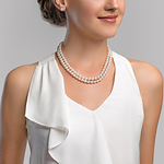 4.0-8.0mm White Freshwater Pearl Double Strand Necklace - Model Image