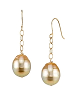Golden South Sea Baroque Pearl Dangling Tincup Earrings